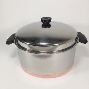 Vtg Revere Ware 6QT Dutch Oven Stock Pot w/Lid